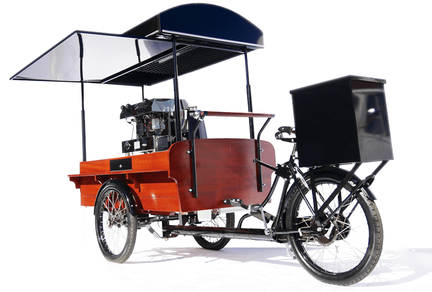 Hand crafted mobile coffee bikes - unique to Coffee Latino